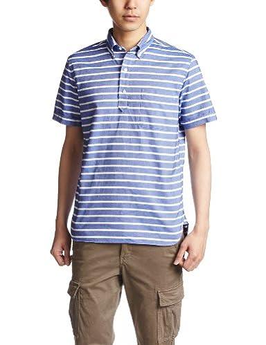 Short Sleeve Pullover Buttowndown Shirt 38-01-0006-139: Blue