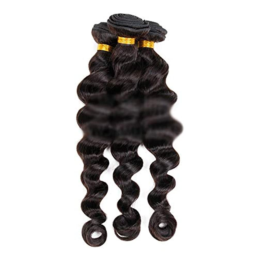 生むシールド凶暴なYESONEEP ブラジルの髪織りエクステンション100%本物の人間の髪の毛のダブルよこ糸の緩い波カーリーブラックカラー12インチ28インチ1個50g /バンドル人毛ウィッグ (色 : 黒, サイズ : 24 inch)