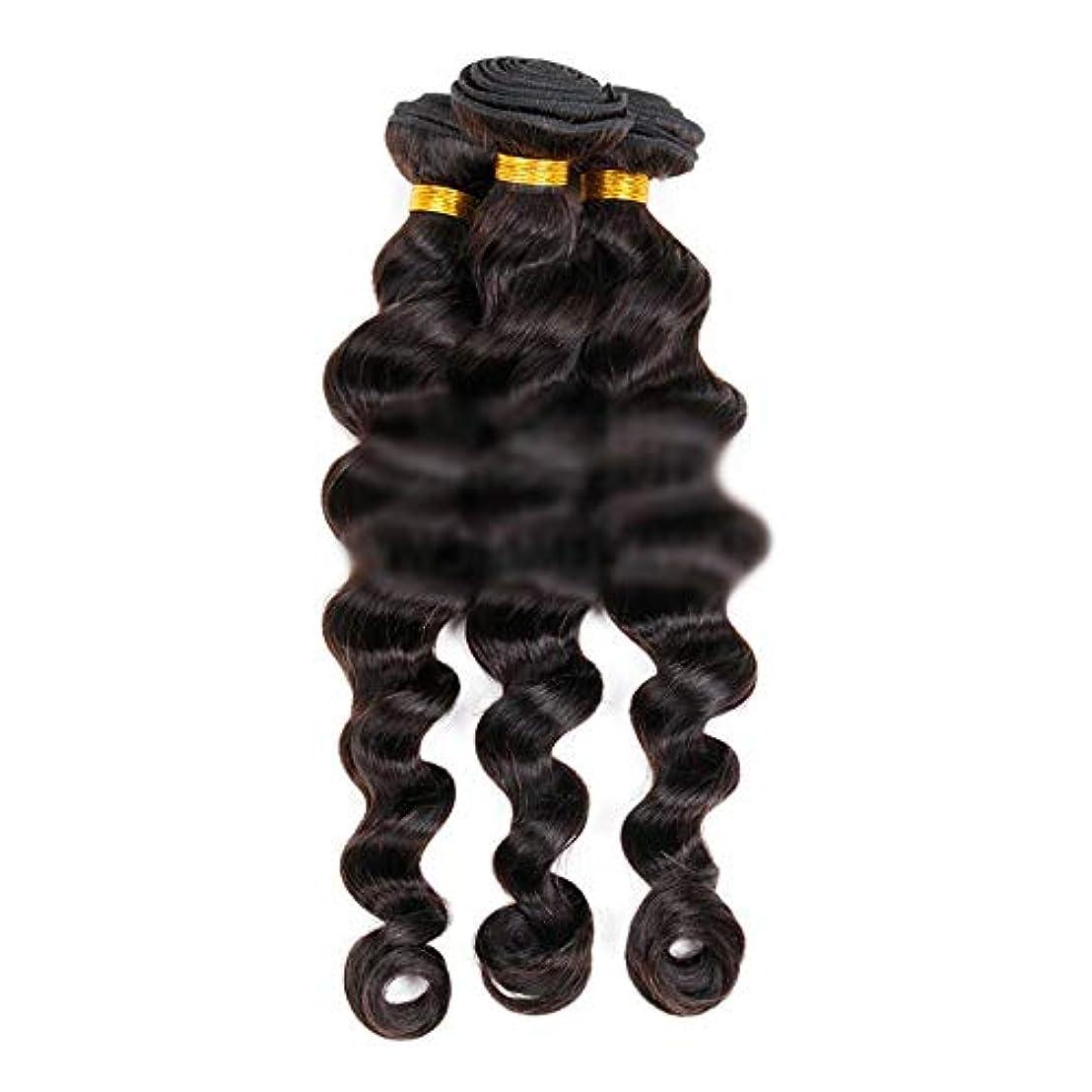 口径流星減衰HOHYLLYA ブラジルの髪織りエクステンション100%本物の人間の髪の毛のダブルよこ糸の緩い波カーリーブラックカラー12インチ28インチ1個50g /バンドル人毛ウィッグ (色 : 黒, サイズ : 22 inch)