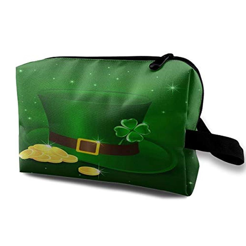 鉛筆チップ簿記係Happy St. Patrick's Day Hat With Gold Coins 収納ポーチ 化粧ポーチ 大容量 軽量 耐久性 ハンドル付持ち運び便利。入れ 自宅?出張?旅行?アウトドア撮影などに対応。メンズ レディース...