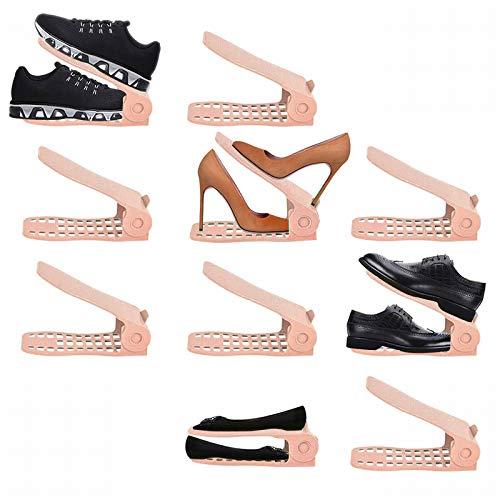 LITTHING 靴ホルダー 省スペース 靴スタンド10個入りシューズ収納高さ調整機能付き下駄箱安定 下駄箱省スペース滑りとめ (ピンク)