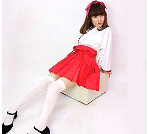 『【コスプレ】KISKIS dreampark コスチューム 巫女(白タイツ付き)2点 セット 和装 白色 赤色 (【Mサイズ】)KK277』のトップ画像