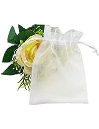 Fushing 100枚 無地オーガンジー巾着袋 ギフト包装 、ジュエリー、プレゼント用 ラッピング袋 10*15cm(ホワイト)