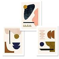 Zhaoyangeng 幾何学的な抽象的なギャラリーキャンバス絵画北欧壁アート写真ポスターとプリントリビングルームの装飾自宅で-50×70センチ×3フレームなし