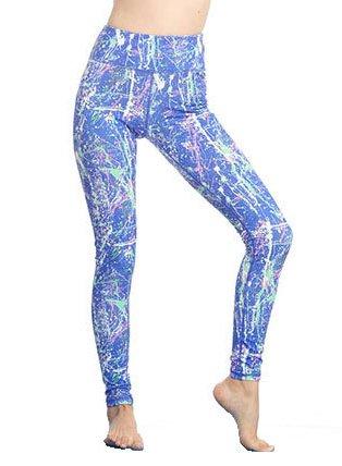 【MIDORI】 インディゴ ファッション レディース 伸縮性 透けない素材 サイドポケット メッシュ スポーツ ジム トレーニング ヨガ フィットネスウェア パンツ(M)