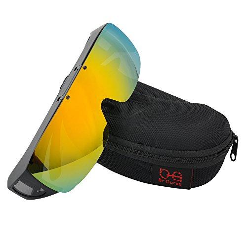 Br'Guras オーバーグラス 偏光サングラス メガネをかけたまま対応のサングラス 跳ね上げ式 UV400 紫外線カット サイクリング、釣り、ランニング、野球 格好いいサングラス! (イエローミラー)