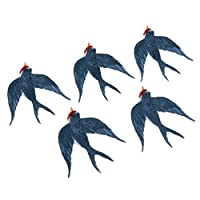 ツバメの形 パッチ バッジ 布ステッカー かわいい 刺繍 帽子 修理装飾 アイロンオン 5個 全2種 - ツバメ1