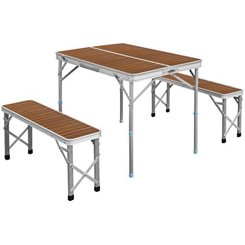 FIELDOOR 収納式アルミレジャーテーブル 木目調 ゼブラ 幅90×奥行66×高さ70cm ベンチ分離タイプ
