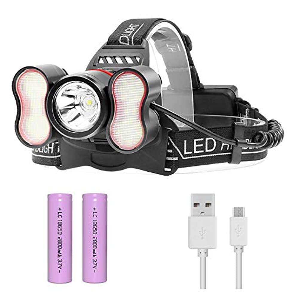 闘争バッジブランドヘッドライト 光セルセンサヘッドライト USB 充電式 LEDヘッドランプ 超高輝度 6000ルーメン 防水 5点灯モード SOSフラッシュ機能 アウトドア照明 登山 夜釣り 夜間作業 (フォトセルセンサー6000lumen)