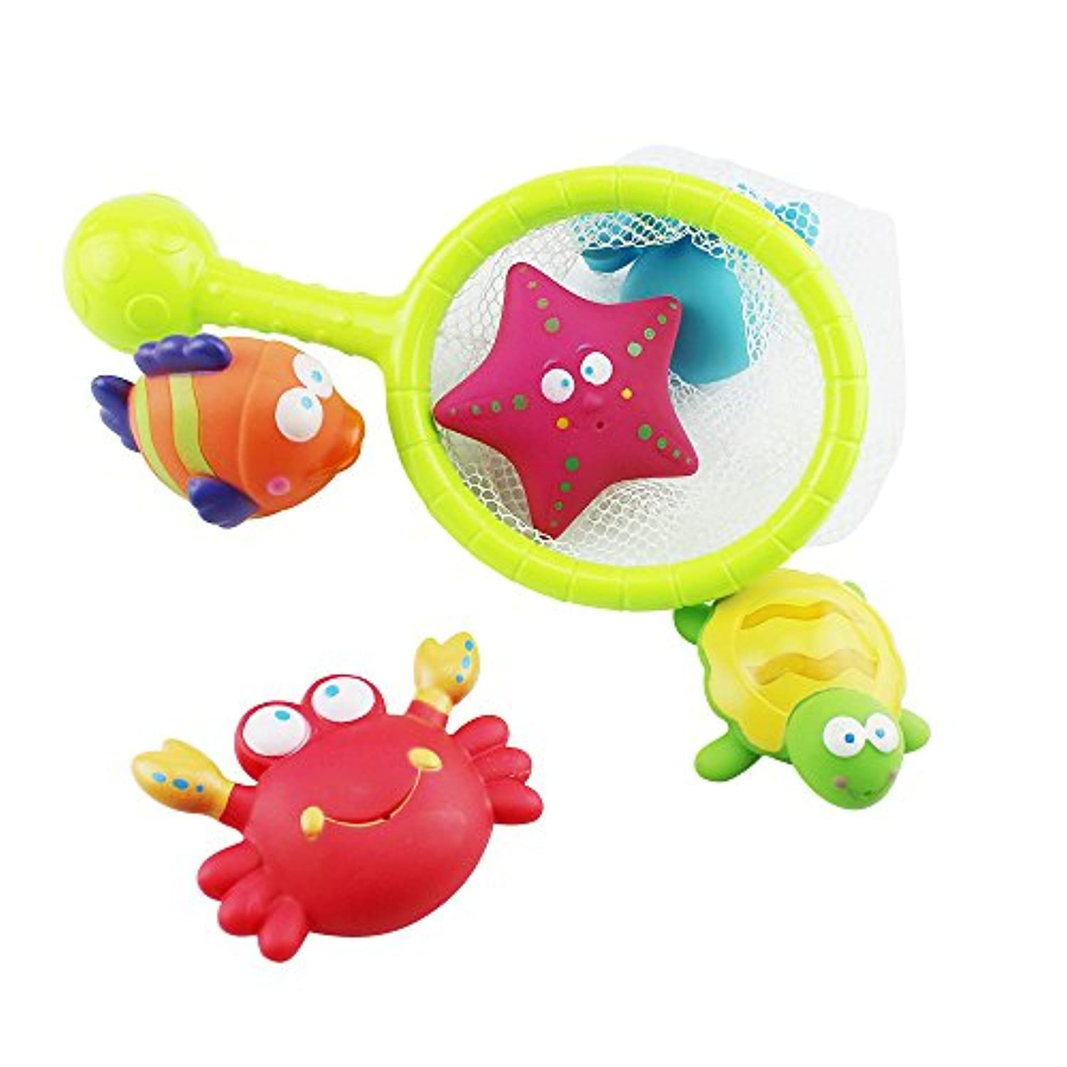 Rainbowkid Baby Bath Water Toy with turtles,starfish, octopus,clownfish,for baby Fish, Puzzle boxed Duck Toddler Soft Toys Bathtime Fishing Set for 3-48 months old baby using by Rainbowkids