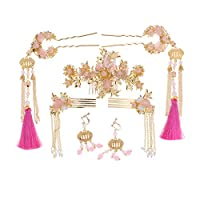 P Prettyia ウェディング ブライダル 模造翡翠 ヘアスティック イヤリング 結婚式 ヘアアクセサリー