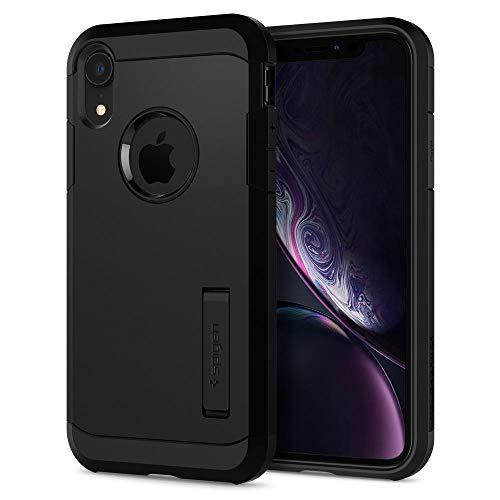【Spigen】 スマホケース iPhone XR ケース 6.1インチ 対応 耐衝撃 スタンド機能 米軍MIL規格取得 カメラ保護 傷防止 衝撃 吸収 Qi充電 ワイヤレス充電 タフ・アーマー 064CS24876 (ブラック)