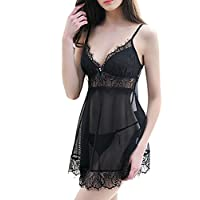 lusky セクシーランジェリー シースルーベビードール 胸元をセクシーに魅せる 大きなリボンに上品なレース 背中を可愛らしく綺麗に 紐結びショーツ ブラック