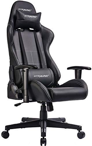GTRACING ゲーミングチェア オフィスチェア リクライニング 多機能 パソコンチェア 事務椅子 ゲーム用チェア ヘッドレスト 腰痛対策 ランバーサポート ひじ掛け付き GTBEE-BLACK 一年保証