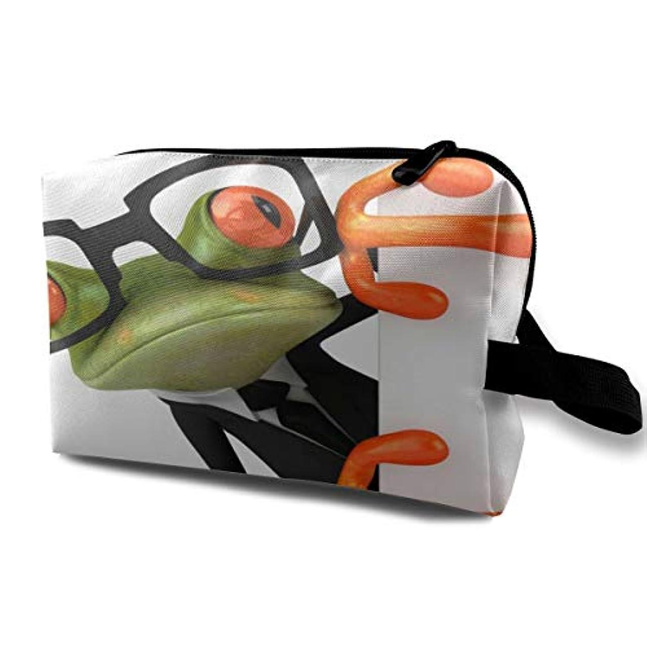 秋マガジン黒板High_Funny Cartoon Frog 収納ポーチ 化粧ポーチ 大容量 軽量 耐久性 ハンドル付持ち運び便利。入れ 自宅?出張?旅行?アウトドア撮影などに対応。メンズ レディース トラベルグッズ
