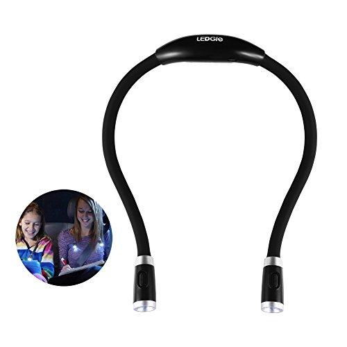 LEDGLE ネックライト ハグライト ウォーキング ライト 夜間 首掛け式 LED懐中電灯 角度調整可能 調光可能 USB充電 フレキシブル ハンズフリー 首かけ LEDライト スポーツ/ランニング/ジョギング/散歩/ウォーキング/トレイルランニング USBケーブル付き ブラック