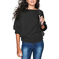 COLINNA Women's Knitted Loose Long Sleeve Pullover Sweater Vintage Top Jumper