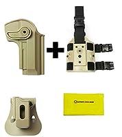 IMI Defense zsp07Single Magポーチ&パドル+ z1250360°回転ホルスターBeretta 92/ 96& Llama 82、タン+ z2200ドロップ脚アタッチメントリグ+ Ultimate Arms Gear Careシリコンクリーニングクロス