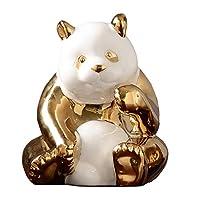 家の装飾セラミックパンダ家の装飾クリエイティブパーソナリティ家の居間研究オフィスギフトギフト装飾工芸品 (Color : GOLD, Size : 10*15*12CM)