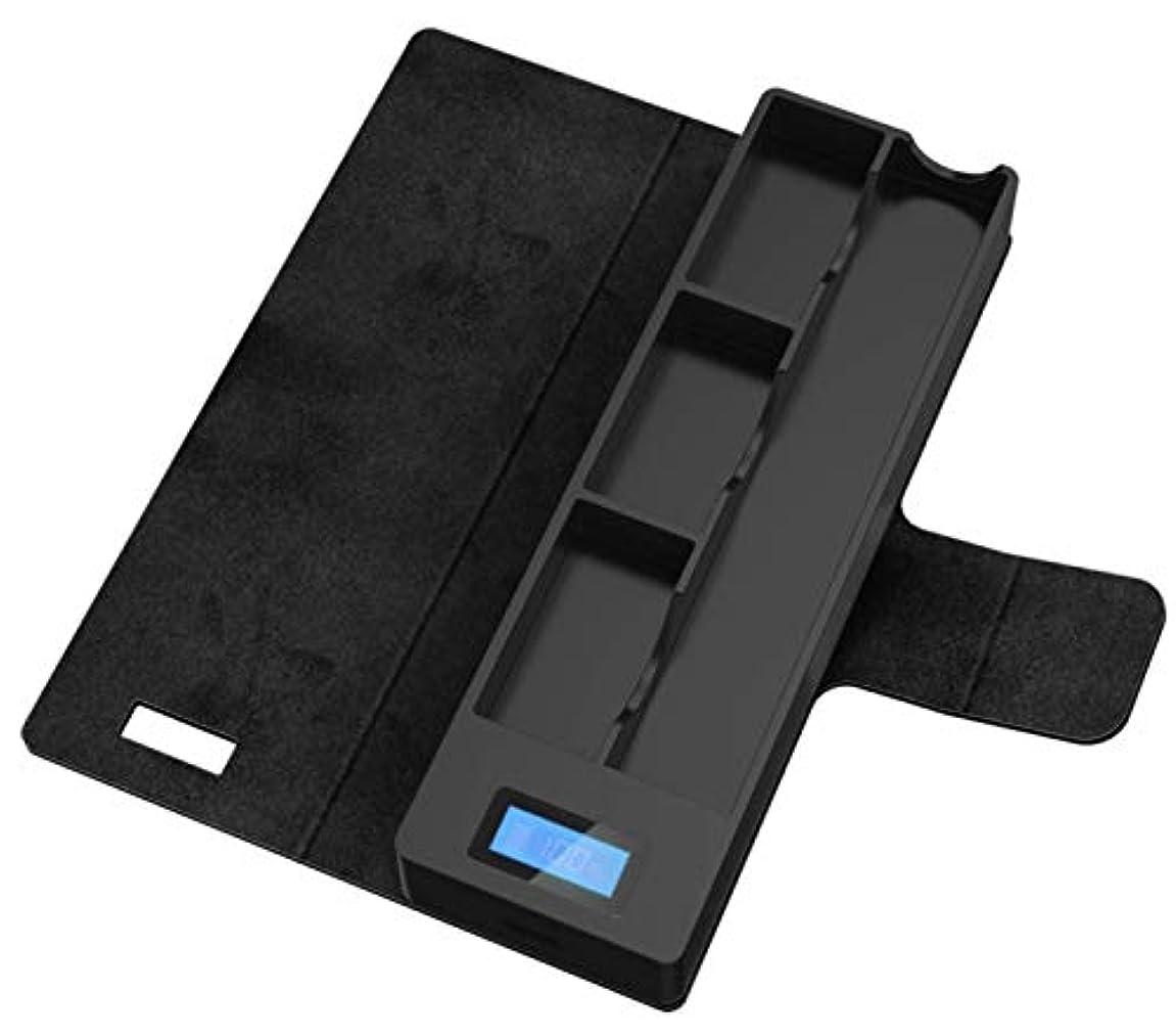 ゴム含意百万JUULトラベルケース バッテリー充電ができるケース 充電ポッドケースホルダー オリジナルファイバークロス付 (ブラック)