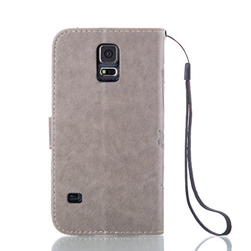 UNEXTATI Galaxy S5 ケース 手帳型 保護 ケース 高品質 PU レザー ストラップ付き カード収納ケース カバー 耐衝撃 スタンド機能 付き Samsung Galaxy S5 ケース Case (P7 グレー)