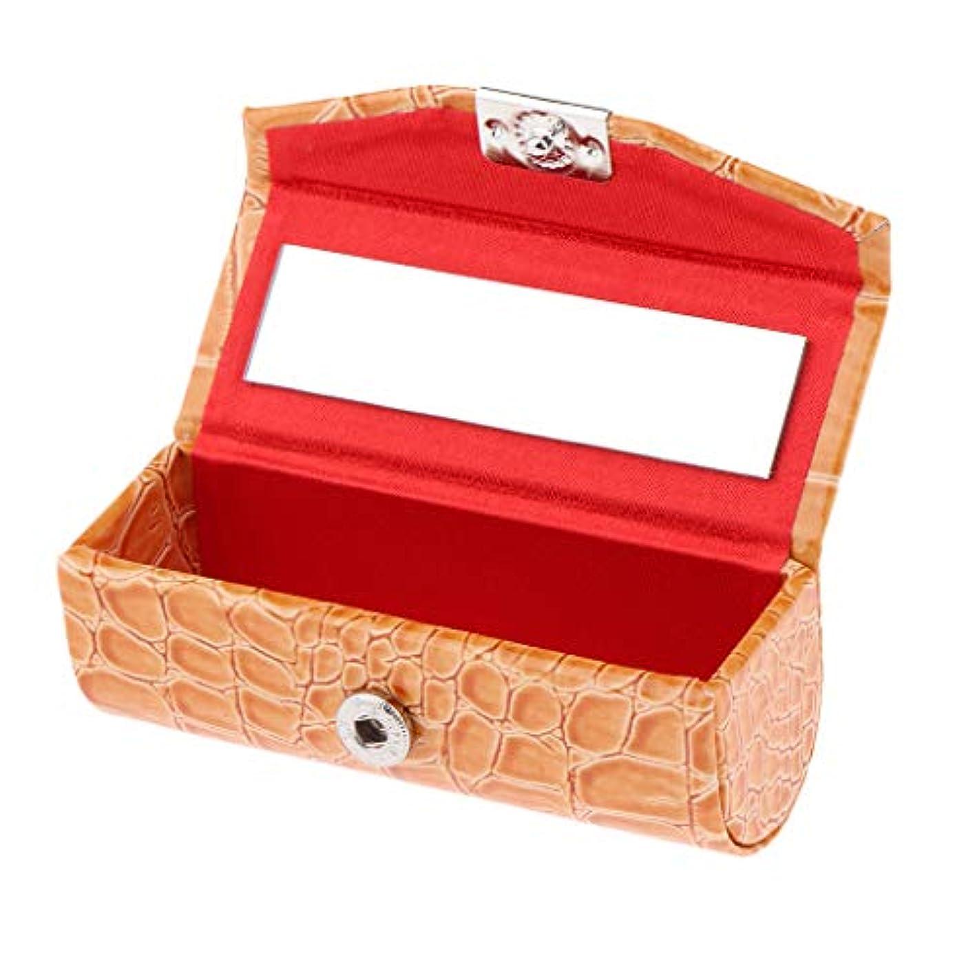 採用するガソリン娯楽F Fityle リップスティックケース 口紅 ホルダー レザー 財布 ミラー 収納ボックス 多色選べ - オレンジ