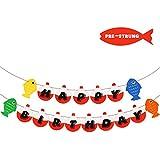 Fishing Happy Birthday Bobber Banner Little Fisherman Kids Party Decoartion