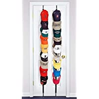 多機能 野球帽ラック 帽子、傘、パッケージ の収納 キャップラック 自由調節 16キャップ 帽子ディスプレイ 掛け吊り下げ式 扉収納 (黒とピンクの2つ)