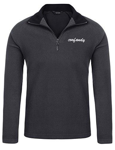 (クーファンディ)Coofandy ポロシャツ メンズ 長袖 無地 秋冬 カジュアル スポーツ ゴルフウェア 通勤 通学 普段着 厚手 裏起毛 保温 あったか ラグランスリーブ ジップアップ デザイン ふわふわ 肌触りよい