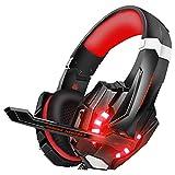 ゲーミングヘッドセット マイク付きヘッドホン 快適な装着性 伸縮可能 LED マイク付き Xbox One PC パソコン スカイプ fps 対応 ゲーミングヘッドホン(1年保証)