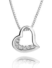 Fairy Heart オープンハート ネックレス シルバー レディース プレゼント 人気カラー 2種類 人気な3色 レディース スーパーキュービックジルコニア 豪華プレゼントギフト (プラチナコーティング)