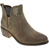MVE Shoes Womens Stylish Pierre Dumas Pointed Toe Block Heek Cowboy Ankle Boot
