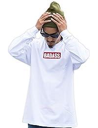 5327 BADASS バダス LONGSLEEVE BOX LOGO クルーネック長袖Tシャツ ホワイト (4XL)