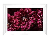 白い木枠フレーム ホーム装飾ポスター 額入り絵画(ピンクの花マクロ写真花弁)50x35cm