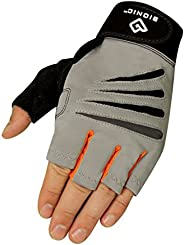 Bionic Glove Men's Cross-Training Fingerless Gloves w/Natural Fit Technology, Gray/Orange (P