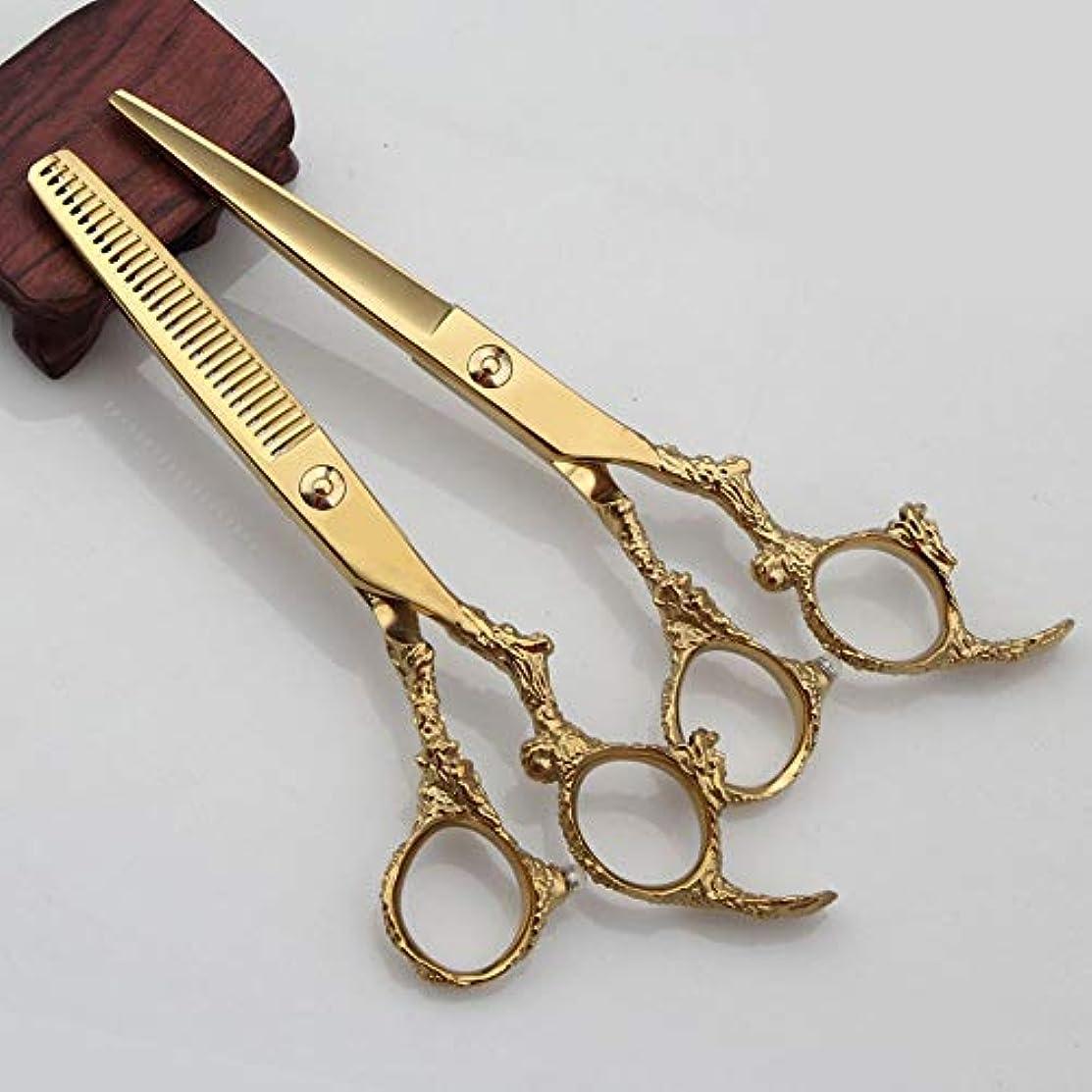 貫入持ってる災難6インチ美容院プロフェッショナル理髪セットフラットシアー+歯はさみセット モデリングツール (色 : ゴールド)