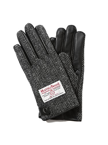 (ビームス)BEAMS/手袋 BEAMS/レザー × ハリスツイード グローブ【タッチパネル対応】 メンズ CHARCOAL HB ONE SIZE