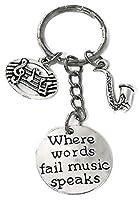 Saxophone Keychain、音楽キーチェーン、Musci音楽注キーチェーン、キーリング、サックスチャームキーリング