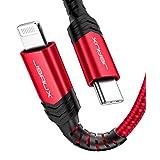 JSAUX Lightning USB-C ケーブル 1.8m【Apple MFi認証取得】超高速充電&データ同期PD対応 ナイロン編み超高耐久 iPhone 11  Pro Pro Max iPhoneXS Max XR X   8   8 Plus iPad pro12.9などに対応(赤)