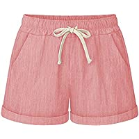 Yknktstc Womens Plus Size Elastic Waist Cotton Linen Casual Beach Shorts with Pockets