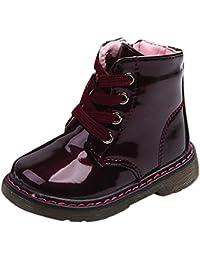 Mangjiu 英国スタイル ブーツ 赤ちゃん ベビーシューズ 男の子 女の子 マーティンブーツ スニーカー 子供靴 PUレザー 防寒 滑り止め
