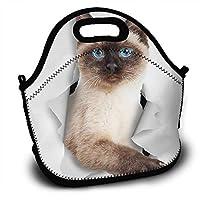 シャム猫のステッカー ポータブルバッグランチバッグポータブル3Dパターン印刷ランチバッグハンドバッグランチボックス冷蔵暖かいポータブル軽量大容量ユニセックス