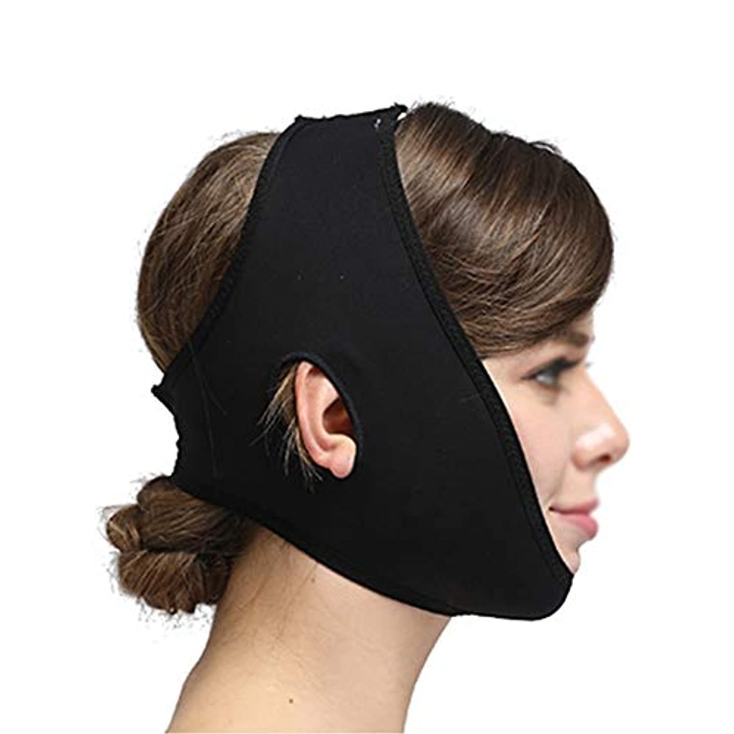 XHLMRMJ フェイシャル彫刻道具、弾力性のあるヘッドギア、脂肪吸引術、薄い顔、二重あご (Color : Black, Size : S)
