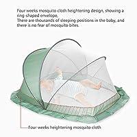 暗号化 メッシュ 360° 蚊 折りたたみ式 子 蚊帳、 ロータリーフォールド 片手で開閉する 幼児 ベッドキャノピーカバー、 ユニセックス 赤ちゃん用ベッド テント,グリーン,98*55cm