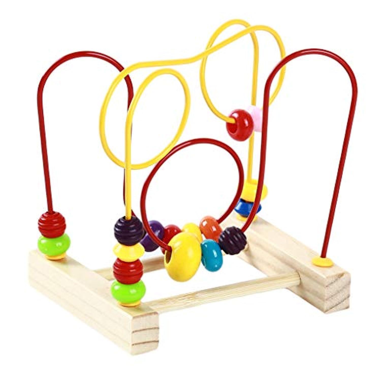 Timesuper 木製数学玩具、カウントサークルビーズそろばんワイヤー迷路おもちゃジェットコースター周りビーズワイヤー迷路知育玩具