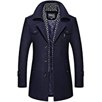 Men's Fashion Lapel scarf Wool Coats Reefer Jackets Mid-Long Slim Fit Parke Leisure Trench Coat