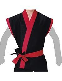【よさこい衣装?袢纏?法被】袖なし袢天 黒地に赤衿?赤地に黒衿 B9802?9803