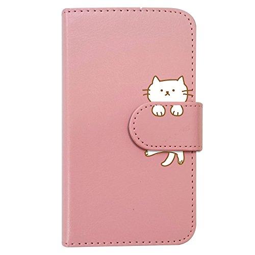sslink L-01K V30+/L-02K JOJO/LGV35 isai V30+/LG V30 手帳型 スマホ ケース ねこ 動物 キャラクター かわいい (ピンク) 猫 アニマル ダイアリータイプ 横開き カード収納 フリップ カバー スマートフォン