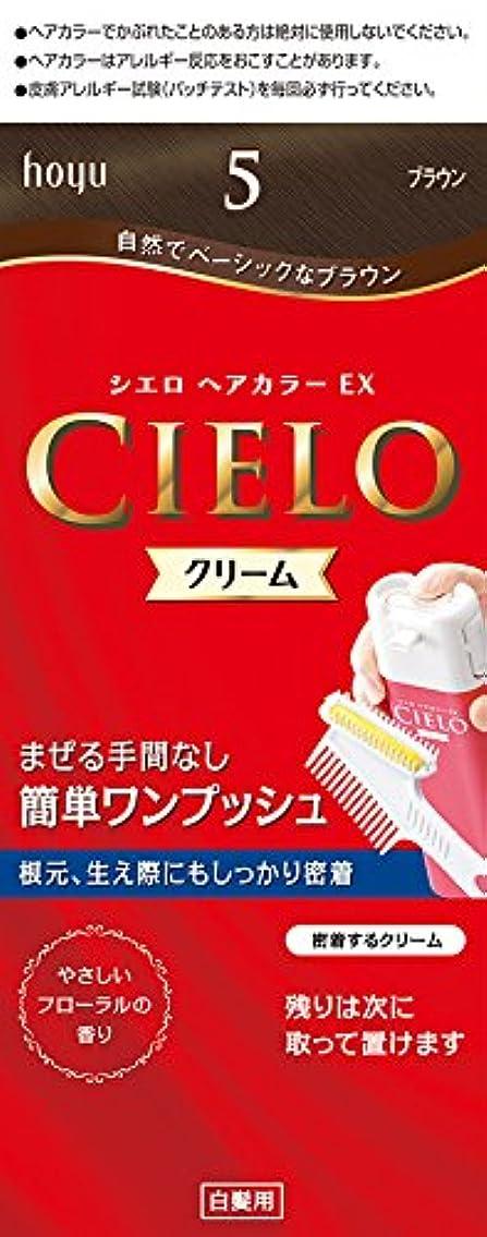 お尻ポップ評価可能ホーユー シエロ ヘアカラーEX クリーム5 (ブラウン) 1剤40g+2剤40g+手袋+ブラシ付