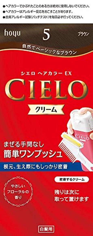 足音多年生シャッターホーユー シエロ ヘアカラーEX クリーム5 (ブラウン) 1剤40g+2剤40g+手袋+ブラシ付